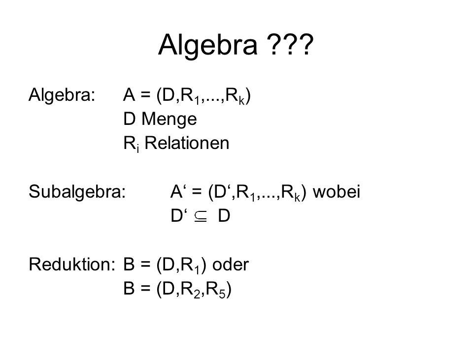 Algebra Algebra: A = (D,R1,...,Rk) D Menge Ri Relationen