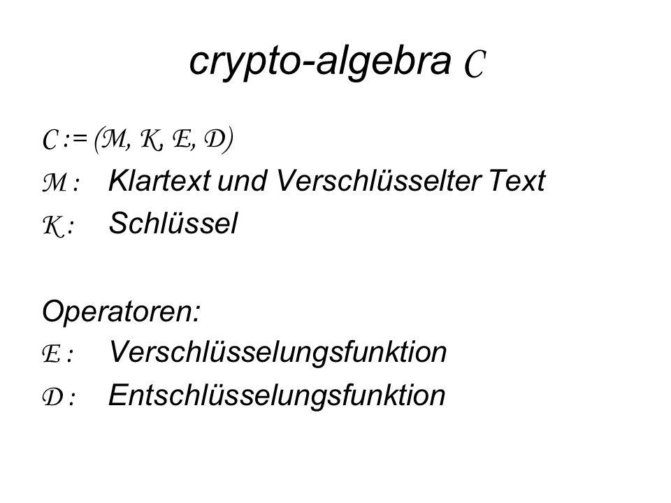 crypto-algebra C C := (M, K, E, D)