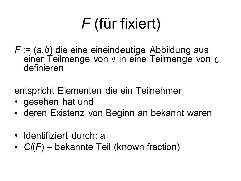 F (für fixiert) F := (a,b) die eine eineindeutige Abbildung aus einer Teilmenge von F in eine Teilmenge von C definieren.