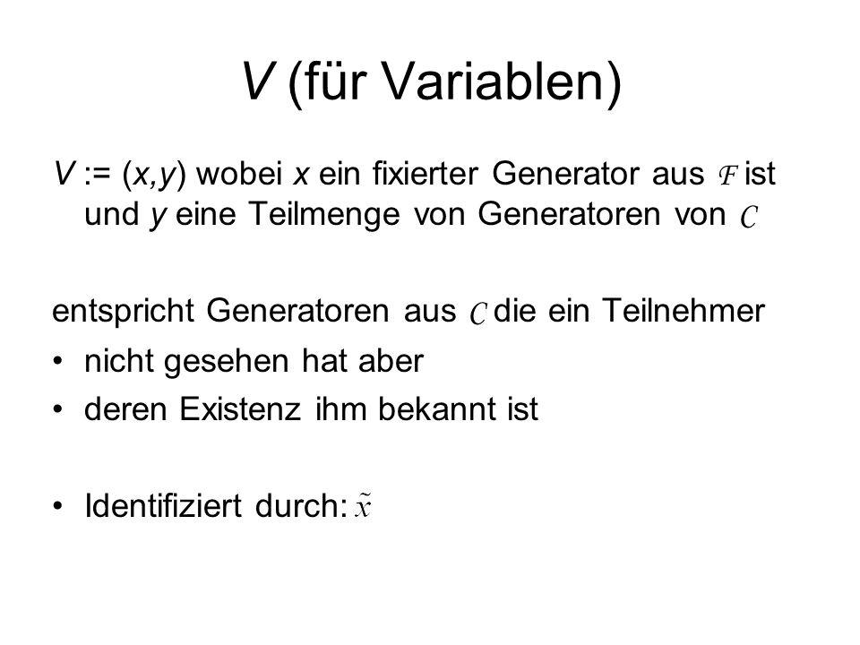 V (für Variablen) V := (x,y) wobei x ein fixierter Generator aus F ist und y eine Teilmenge von Generatoren von C.