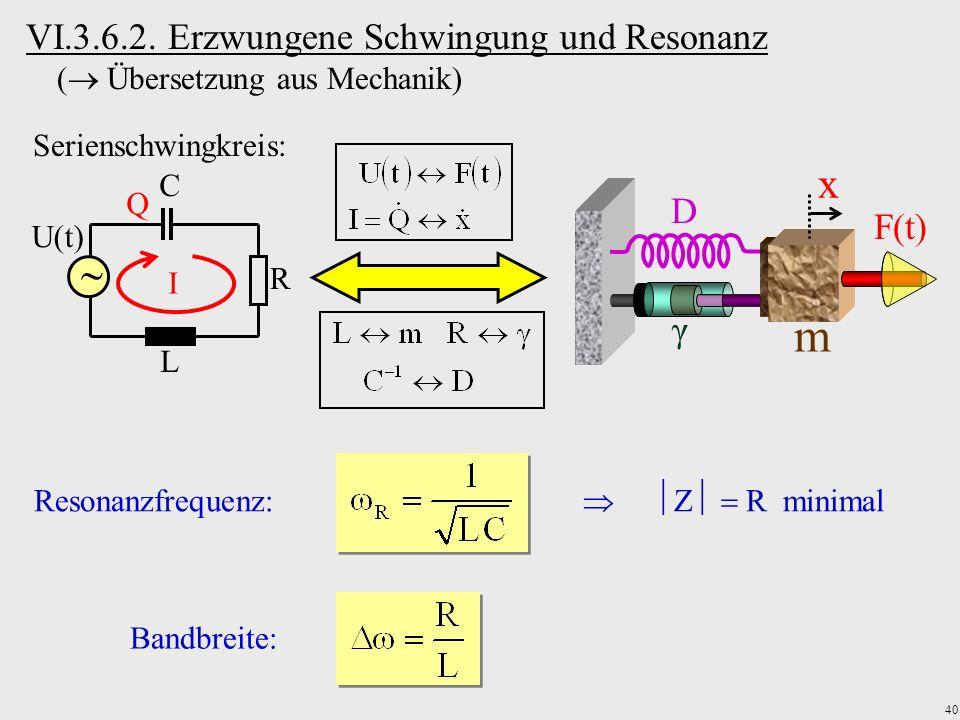 VI.3.6.2. Erzwungene Schwingung und Resonanz ( Übersetzung aus Mechanik)