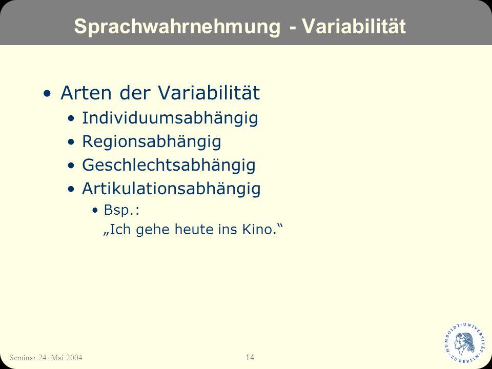 Sprachwahrnehmung - Variabilität