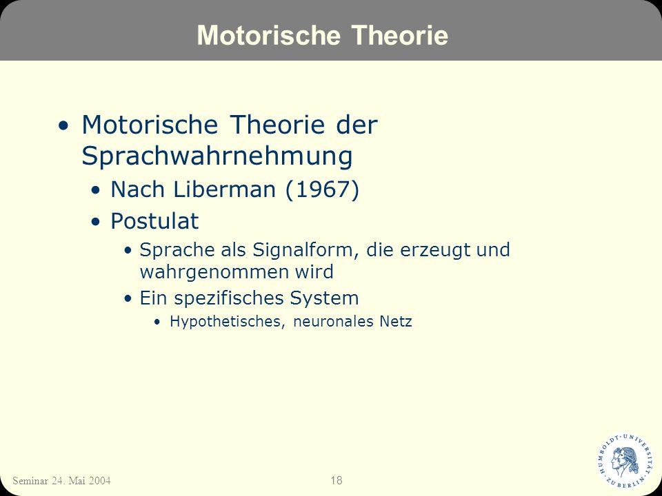 Motorische Theorie Motorische Theorie der Sprachwahrnehmung
