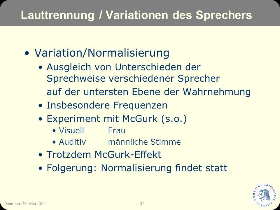 Lauttrennung / Variationen des Sprechers