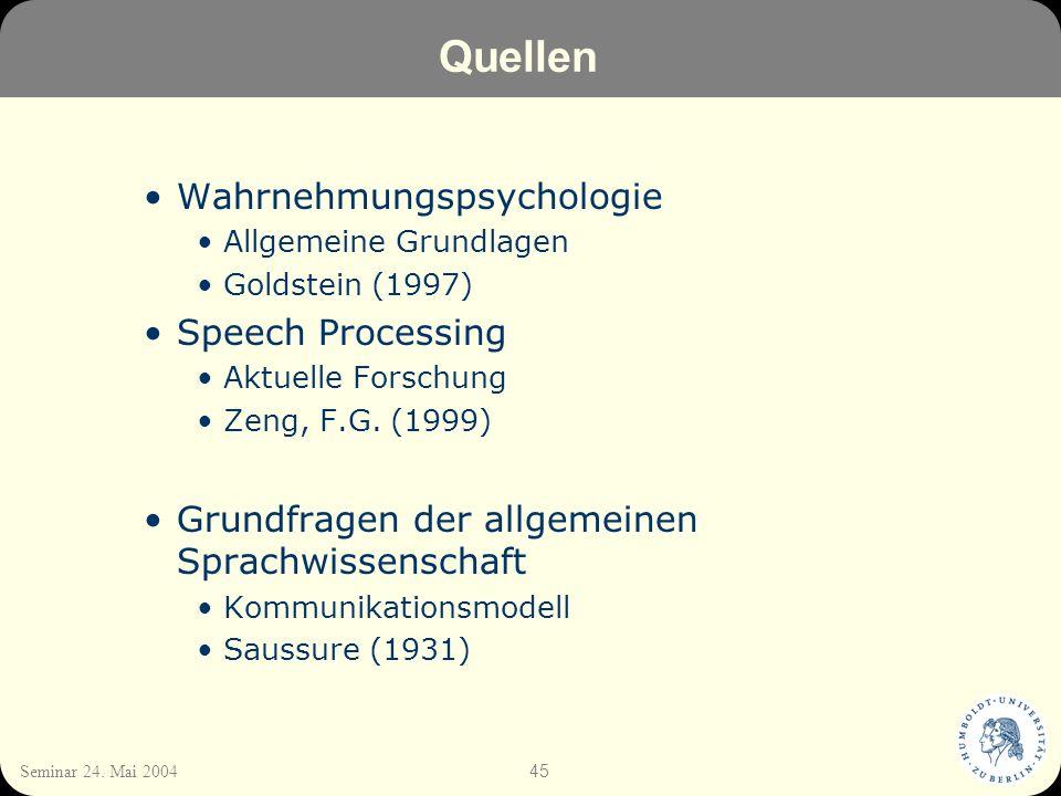 Quellen Wahrnehmungspsychologie Speech Processing