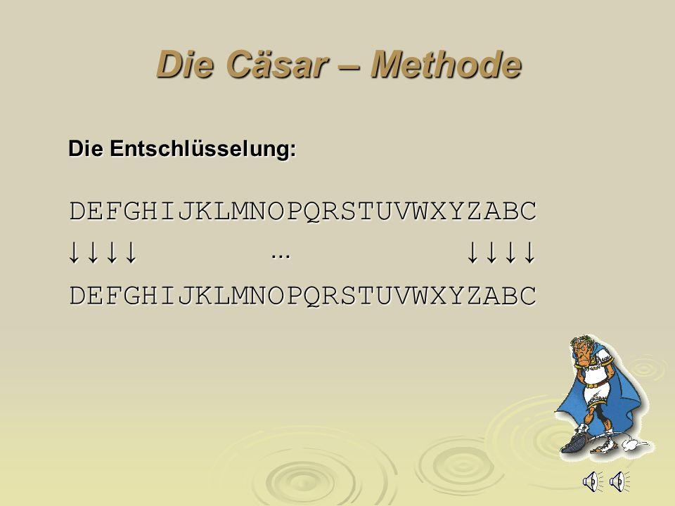 Die Cäsar – Methode DEFGHIJKLMNOPQRSTUVWXYZABC ABC