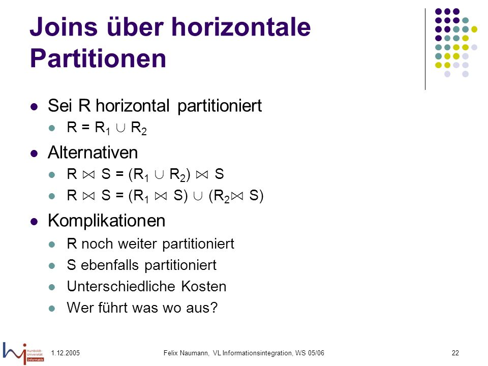 Joins über horizontale Partitionen