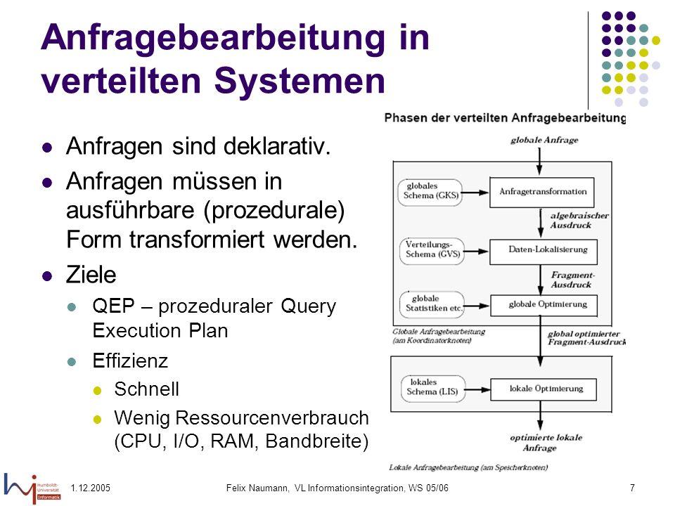 Anfragebearbeitung in verteilten Systemen