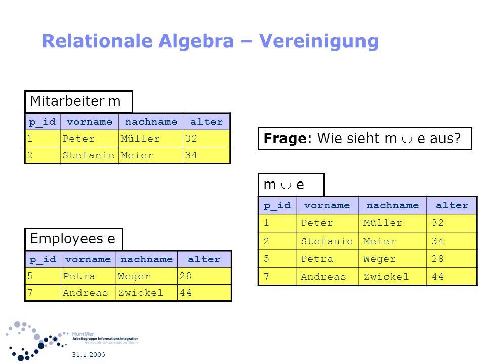 Relationale Algebra – Vereinigung