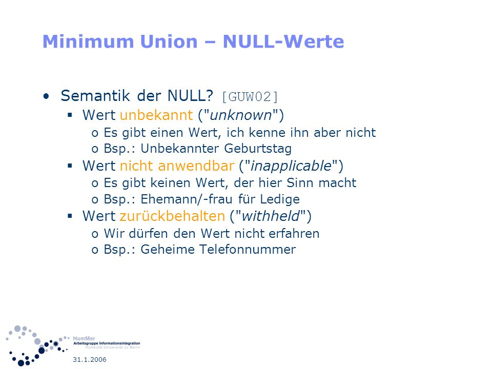 Minimum Union – NULL-Werte