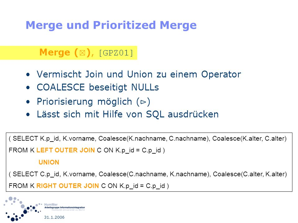 Merge und Prioritized Merge