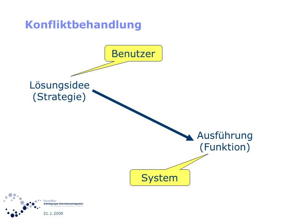 Konfliktbehandlung Benutzer Lösungsidee (Strategie) Ausführung