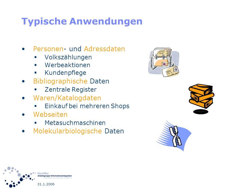 Typische Anwendungen Personen- und Adressdaten Bibliographische Daten