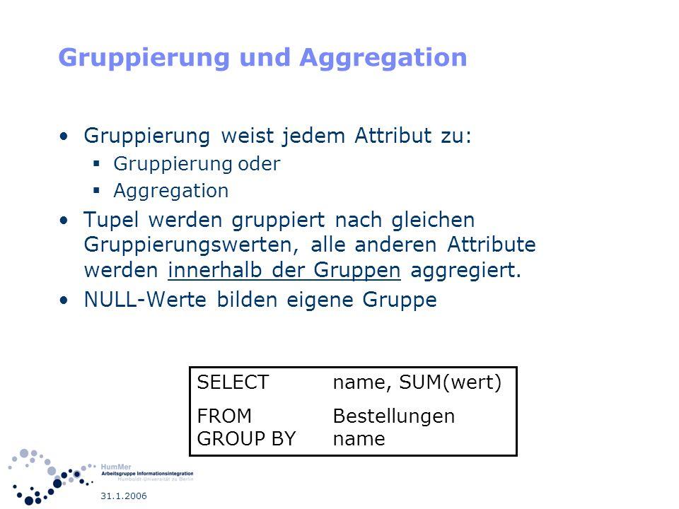 Gruppierung und Aggregation