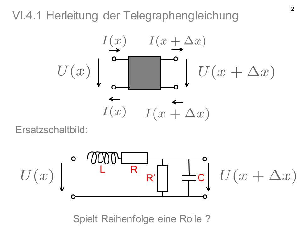VI.4.1 Herleitung der Telegraphengleichung