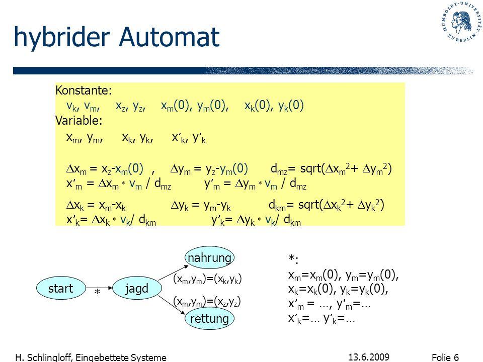hybrider Automat Konstante: vk, vm, xz, yz, xm(0), ym(0), xk(0), yk(0)