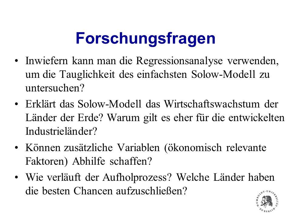 Forschungsfragen Inwiefern kann man die Regressionsanalyse verwenden, um die Tauglichkeit des einfachsten Solow-Modell zu untersuchen