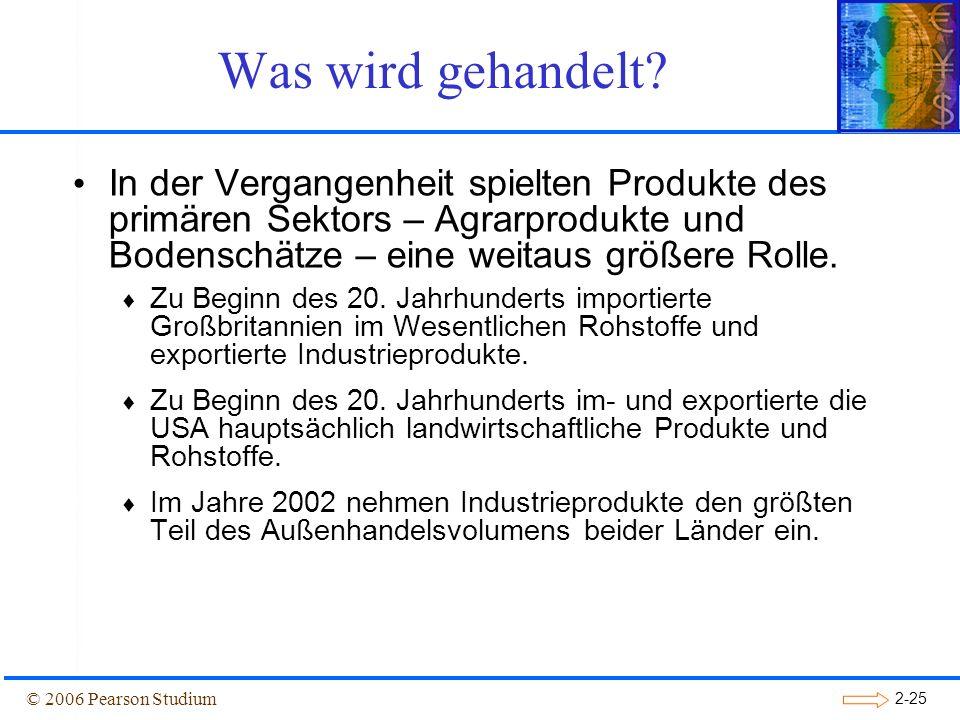 Was wird gehandelt In der Vergangenheit spielten Produkte des primären Sektors – Agrarprodukte und Bodenschätze – eine weitaus größere Rolle.