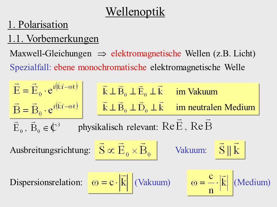 Wellenoptik 1. Polarisation 1.1. Vorbemerkungen |