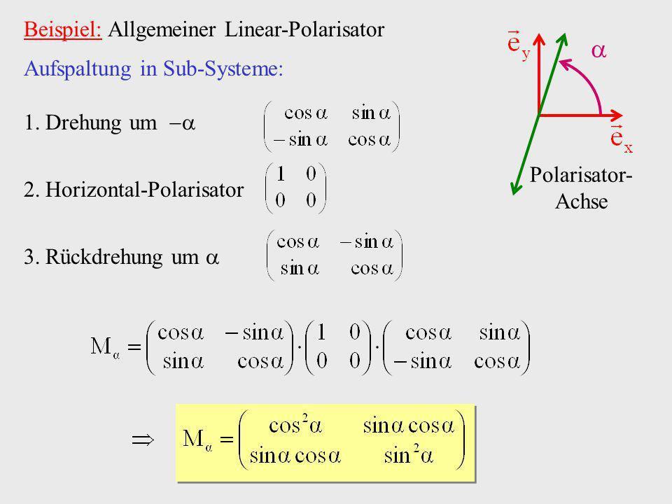  Beispiel: Allgemeiner Linear-Polarisator Aufspaltung in Sub-Systeme: