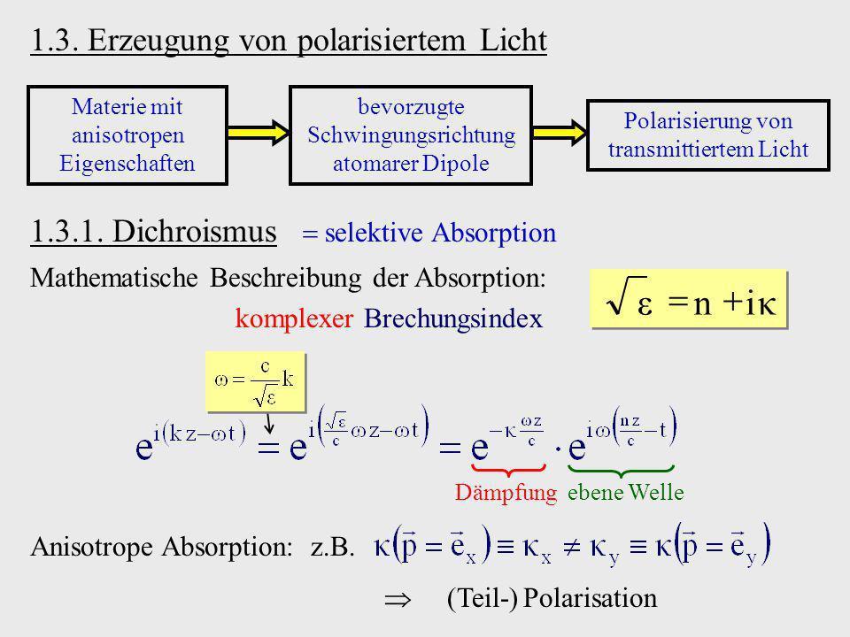 κ i n ε + = 1.3. Erzeugung von polarisiertem Licht