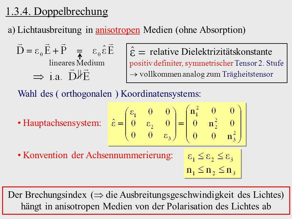 1.3.4. Doppelbrechung Lichtausbreitung in anisotropen Medien (ohne Absorption) relative Dielektrizitätskonstante.