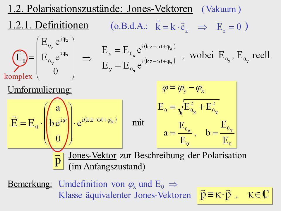 1.2. Polarisationszustände; Jones-Vektoren ( Vakuum )