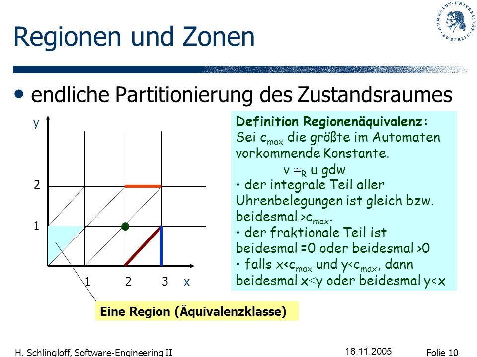 Regionen und Zonen endliche Partitionierung des Zustandsraumes
