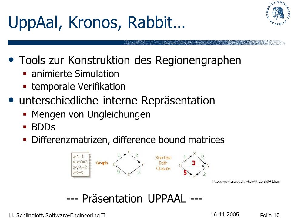 UppAal, Kronos, Rabbit… Tools zur Konstruktion des Regionengraphen