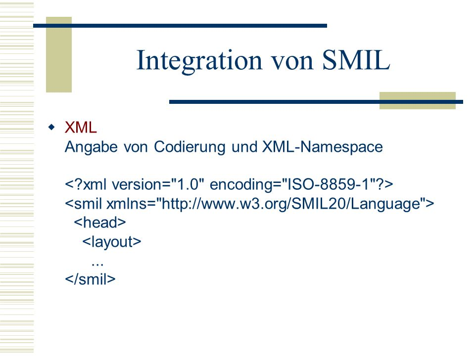 Integration von SMIL