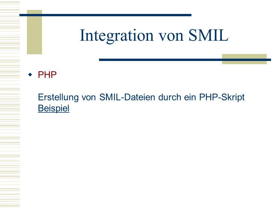 Integration von SMIL PHP Erstellung von SMIL-Dateien durch ein PHP-Skript Beispiel
