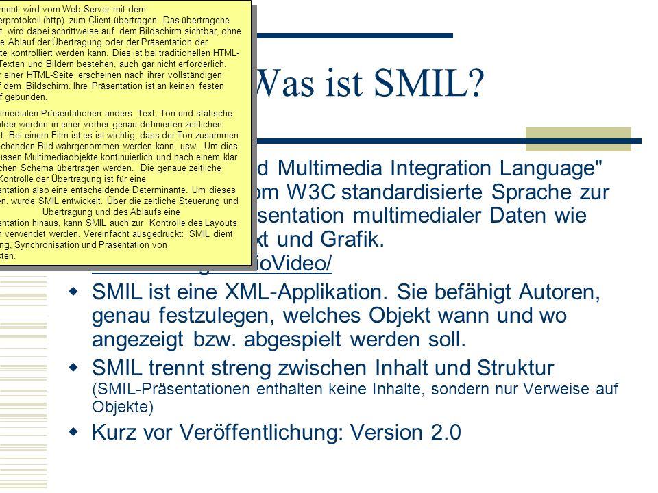 Ein HTML-Dokument wird vom Web-Server mit dem Hypertexttransferprotokoll (http) zum Client übertragen. Das übertragene HTML-Dokument wird dabei schrittweise auf dem Bildschirm sichtbar, ohne dass der zeitliche Ablauf der Übertragung oder der Präsentation der einzelnen Objekte kontrolliert werden kann. Dies ist bei traditionellen HTML-Seiten, die aus Texten und Bildern bestehen, auch gar nicht erforderlich. Texte und Bilder einer HTML-Seite erscheinen nach ihrer vollständigen Übertragung auf dem Bildschirm. Ihre Präsentation ist an keinen festen zeitlichen Ablauf gebunden.