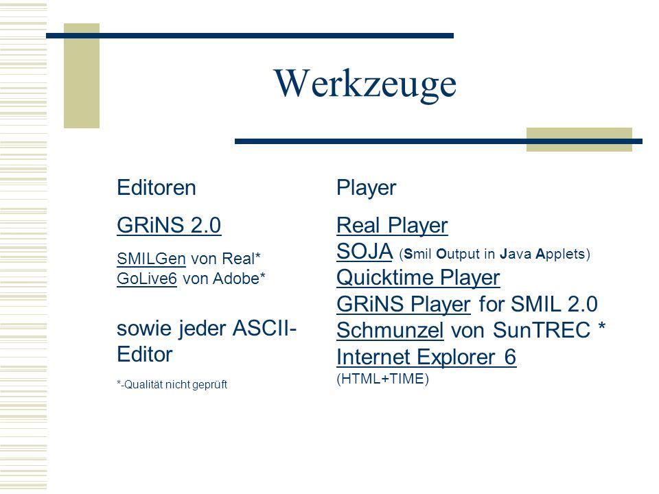 WerkzeugeEditoren GRiNS 2.0 SMILGen von Real* GoLive6 von Adobe* sowie jeder ASCII-Editor *-Qualität nicht geprüft.