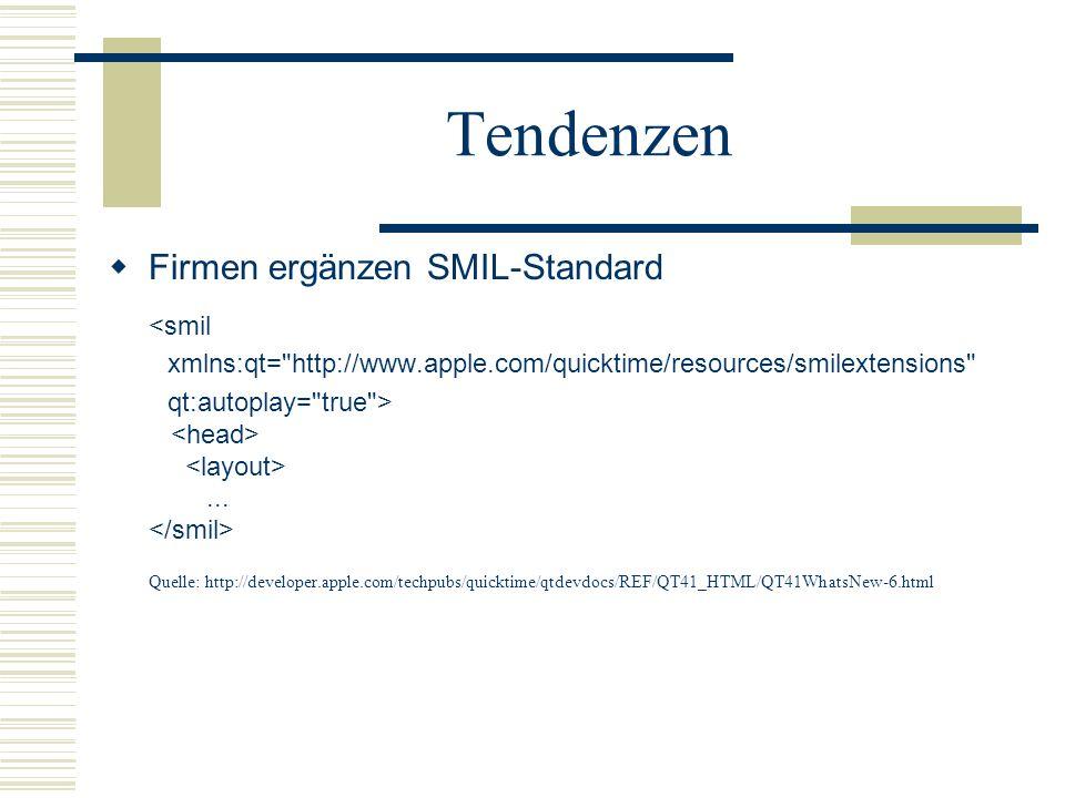 Tendenzen Firmen ergänzen SMIL-Standard <smil
