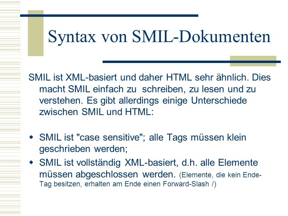 Syntax von SMIL-Dokumenten