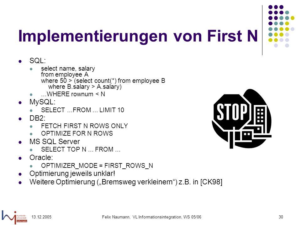 Implementierungen von First N