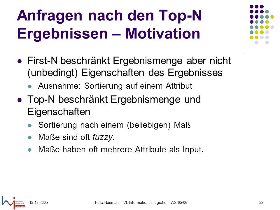 Anfragen nach den Top-N Ergebnissen – Motivation