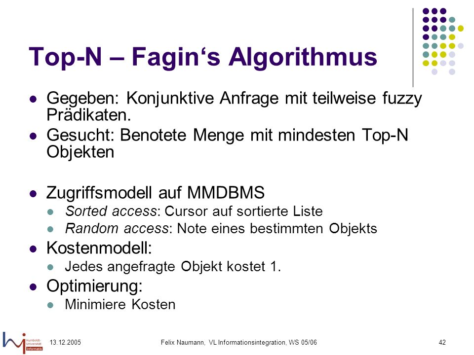 Top-N – Fagin's Algorithmus