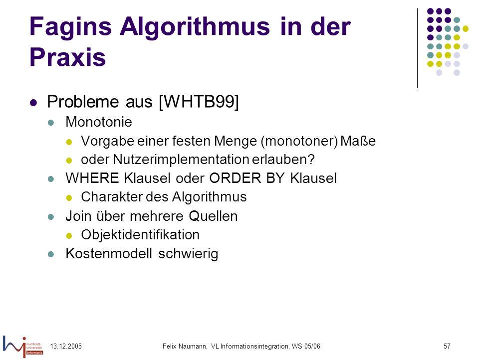 Fagins Algorithmus in der Praxis