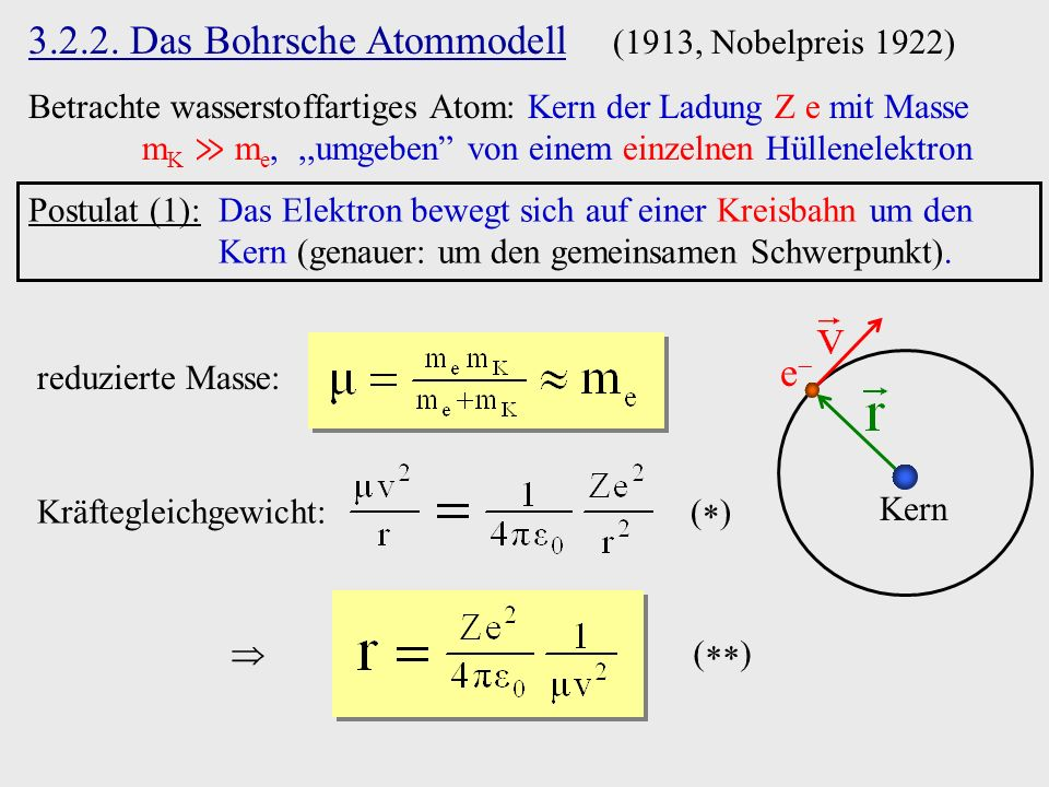 3.2.2. Das Bohrsche Atommodell (1913, Nobelpreis 1922)
