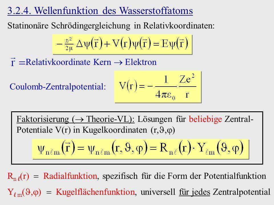 3.2.4. Wellenfunktion des Wasserstoffatoms