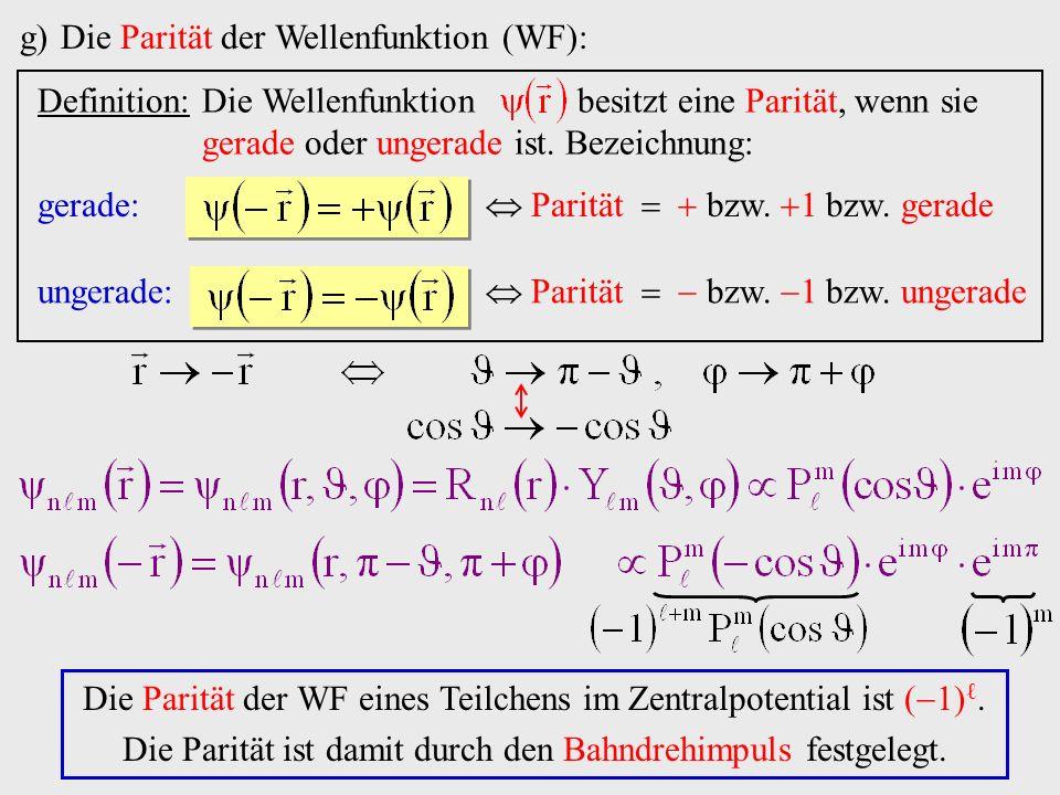 Die Parität der Wellenfunktion (WF):
