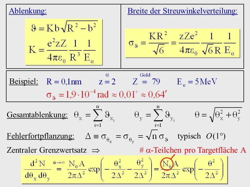 # -Teilchen pro Targetfläche A
