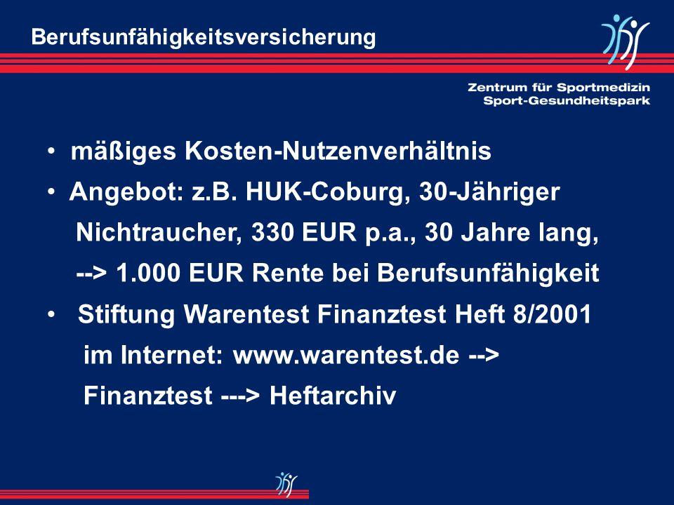 mäßiges Kosten-Nutzenverhältnis Angebot: z.B. HUK-Coburg, 30-Jähriger