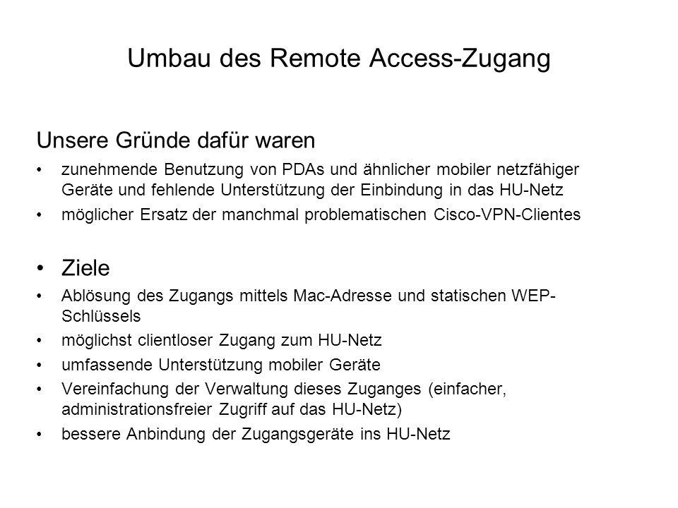 Umbau des Remote Access-Zugang