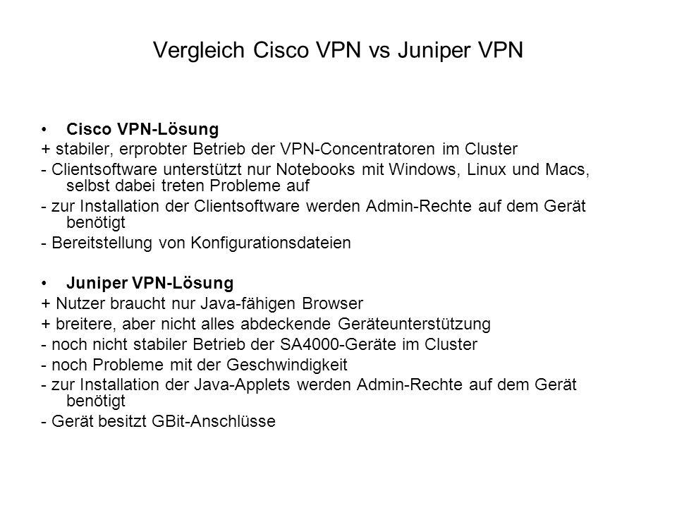 Vergleich Cisco VPN vs Juniper VPN