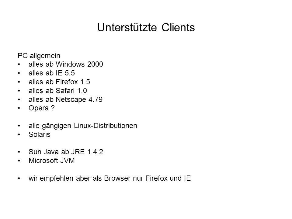 Unterstützte Clients PC allgemein alles ab Windows 2000