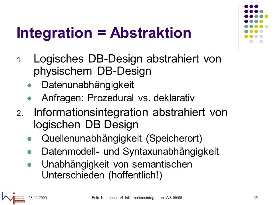 Integration = Abstraktion