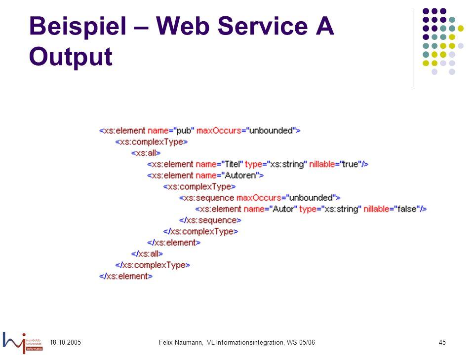 Beispiel – Web Service A Output