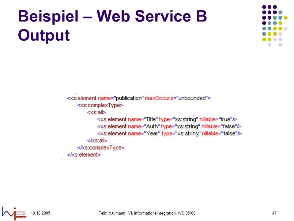 Beispiel – Web Service B Output